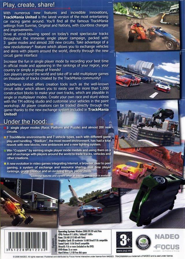 Задняя сторона обложки игры TrackMania United.