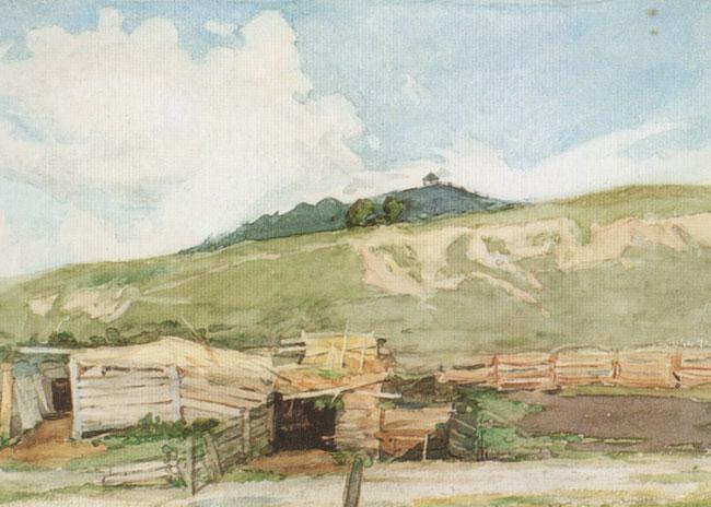 Деревня у подножия гор 1873